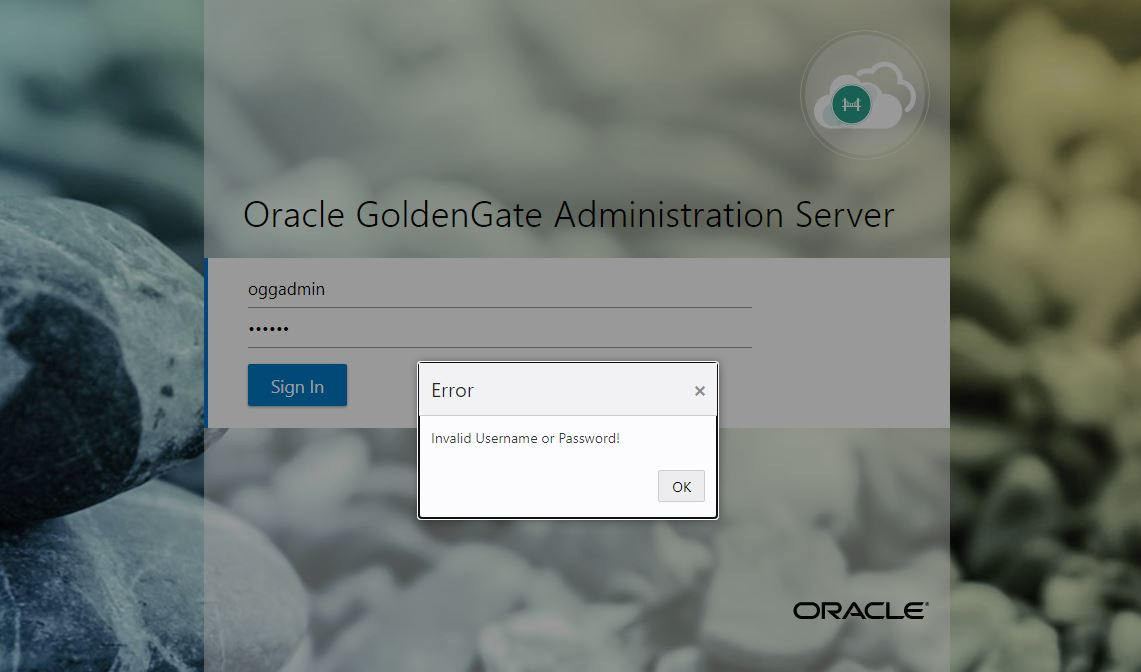 OGG Mircoservices – Incorrect User or Password when login to AdminServer or adminclient